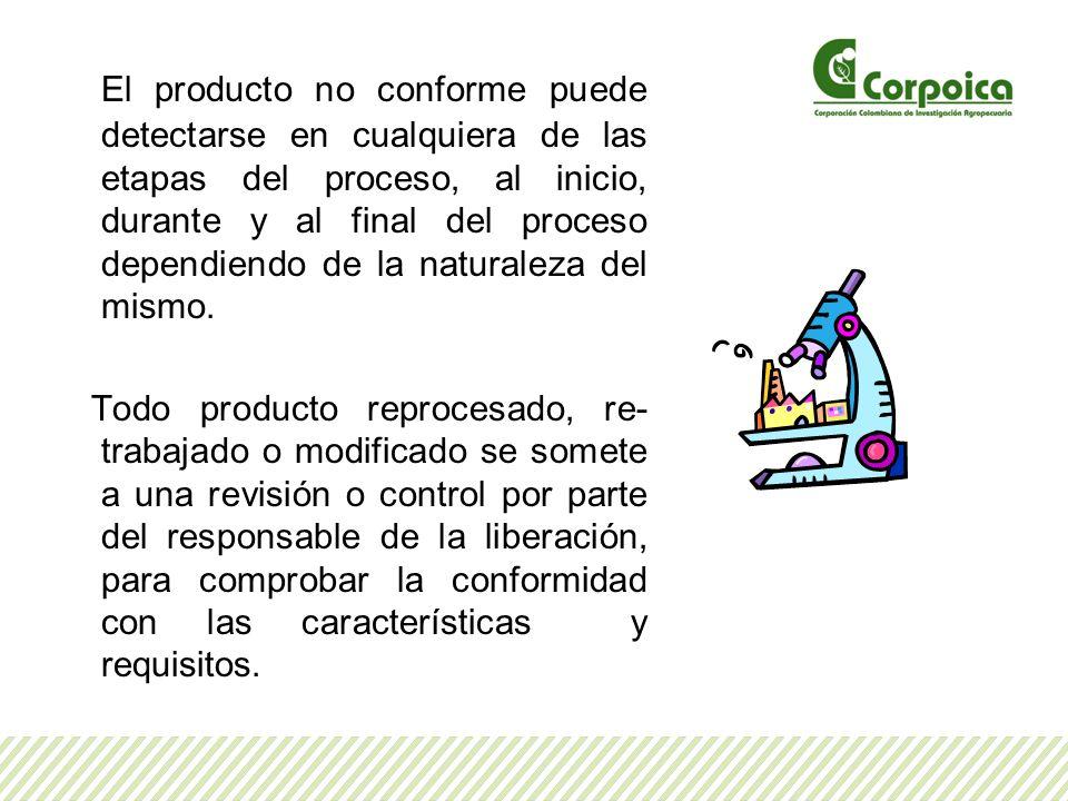 El producto no conforme puede detectarse en cualquiera de las etapas del proceso, al inicio, durante y al final del proceso dependiendo de la naturale