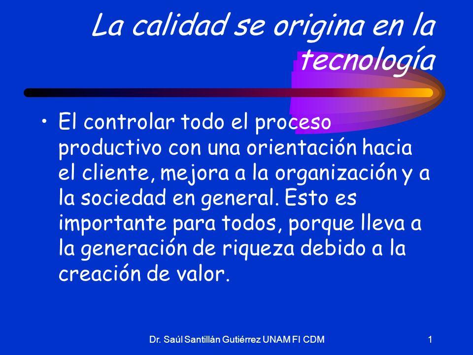 Dr. Saúl Santillán Gutiérrez UNAM FI CDM1 La calidad se origina en la tecnología El controlar todo el proceso productivo con una orientación hacia el