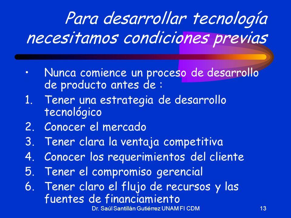 Dr. Saúl Santillán Gutiérrez UNAM FI CDM13 Para desarrollar tecnología necesitamos condiciones previas Nunca comience un proceso de desarrollo de prod