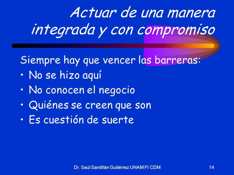 Dr. Saúl Santillán Gutiérrez UNAM FI CDM14 Actuar de una manera integrada y con compromiso Siempre hay que vencer las barreras: No se hizo aquí No con