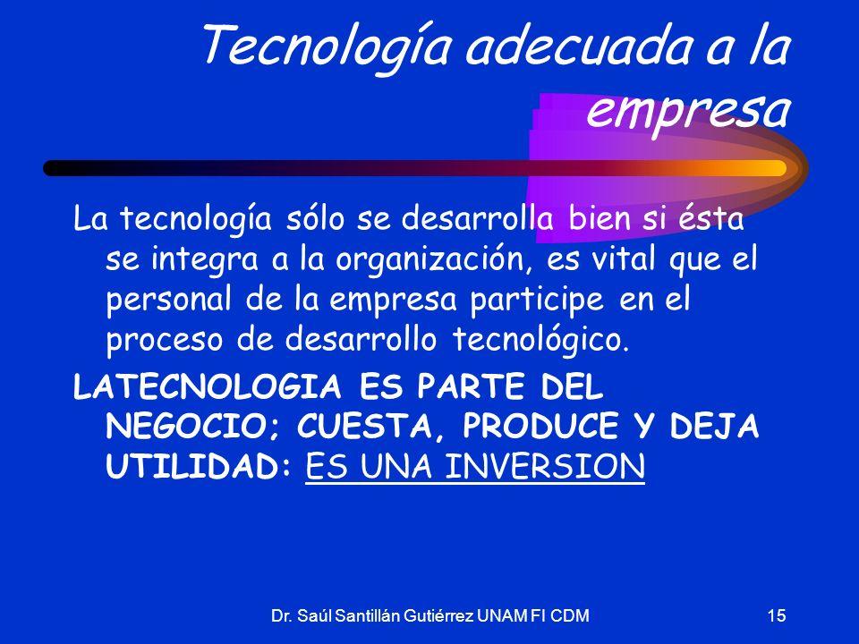 Dr. Saúl Santillán Gutiérrez UNAM FI CDM15 Tecnología adecuada a la empresa La tecnología sólo se desarrolla bien si ésta se integra a la organización