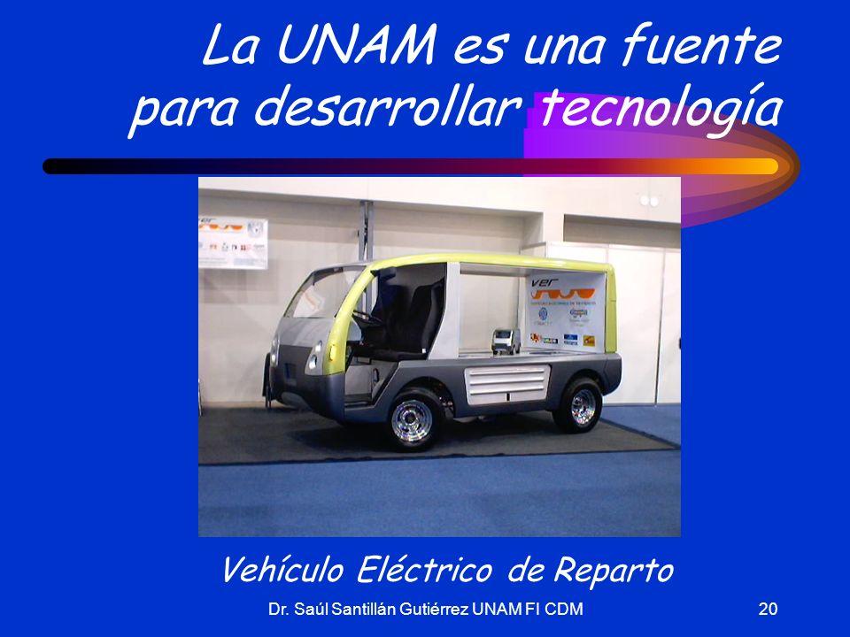 Dr. Saúl Santillán Gutiérrez UNAM FI CDM20 La UNAM es una fuente para desarrollar tecnología Vehículo Eléctrico de Reparto
