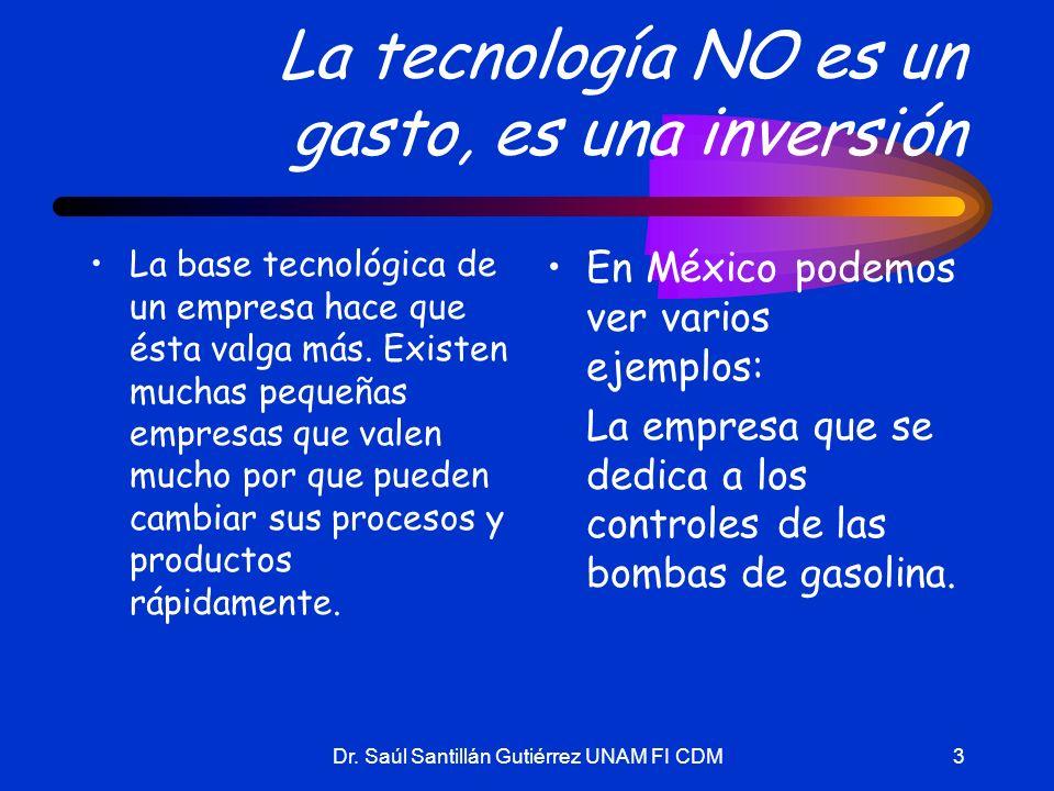 Dr. Saúl Santillán Gutiérrez UNAM FI CDM3 La tecnología NO es un gasto, es una inversión La base tecnológica de un empresa hace que ésta valga más. Ex