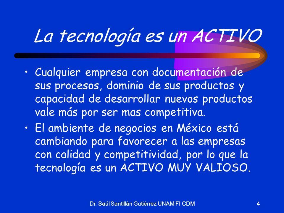 Dr. Saúl Santillán Gutiérrez UNAM FI CDM4 La tecnología es un ACTIVO Cualquier empresa con documentación de sus procesos, dominio de sus productos y c