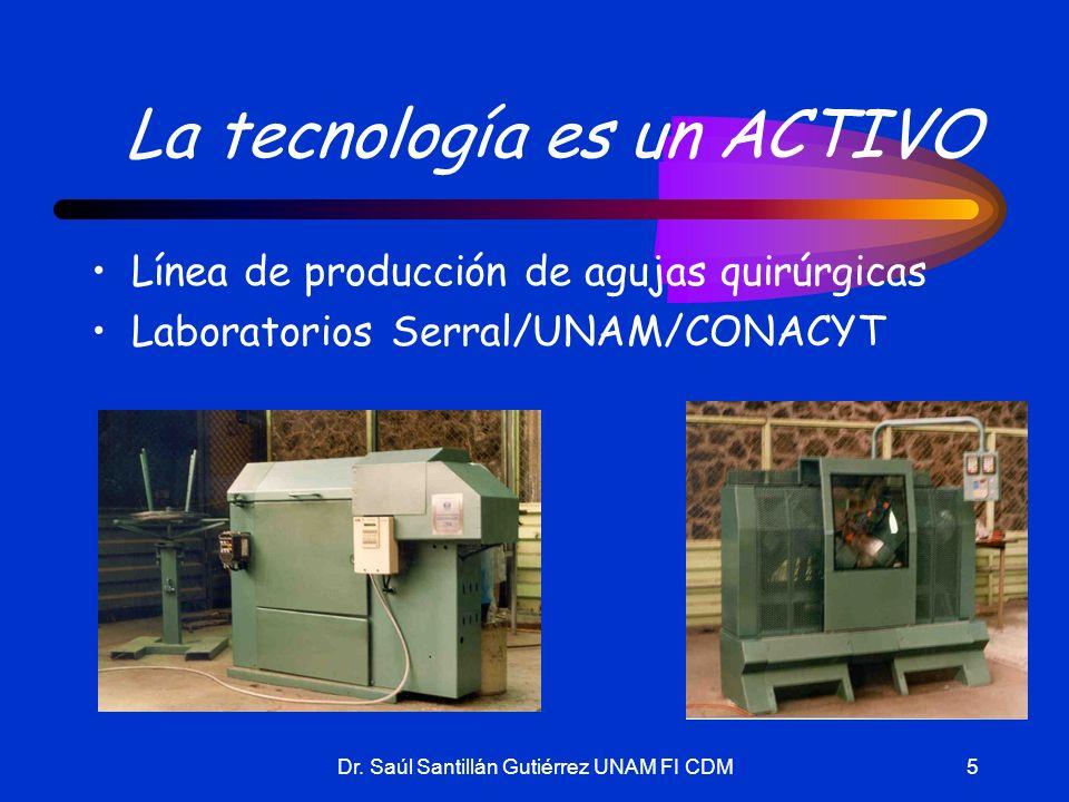 Dr. Saúl Santillán Gutiérrez UNAM FI CDM5 La tecnología es un ACTIVO Línea de producción de agujas quirúrgicas Laboratorios Serral/UNAM/CONACYT