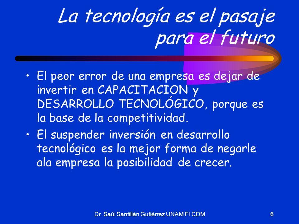 Dr. Saúl Santillán Gutiérrez UNAM FI CDM6 La tecnología es el pasaje para el futuro El peor error de una empresa es dejar de invertir en CAPACITACION