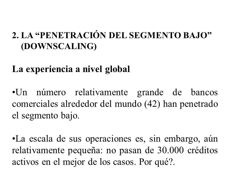 2. LA PENETRACIÓN DEL SEGMENTO BAJO (DOWNSCALING) La experiencia a nivel global Un número relativamente grande de bancos comerciales alrededor del mun