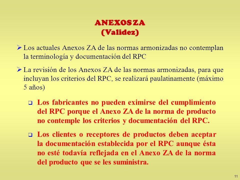 11 ANEXOS ZA (Validez) Los actuales Anexos ZA de las normas armonizadas no contemplan la terminología y documentación del RPC La revisión de los Anexo