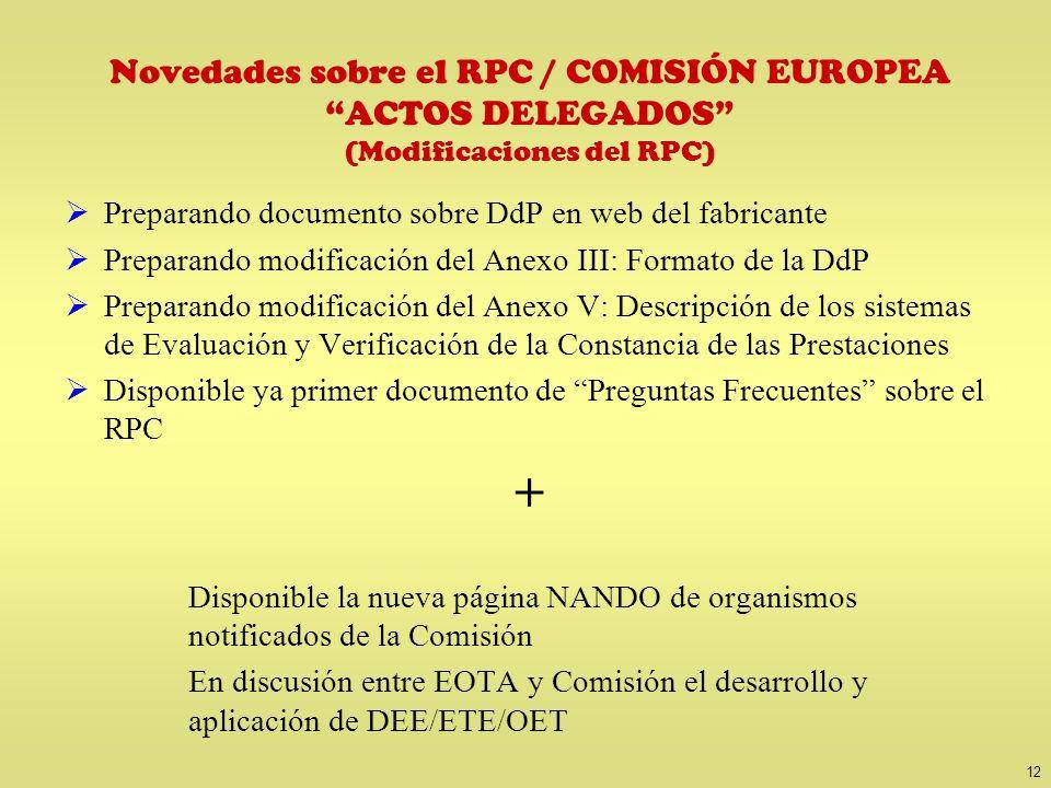 12 Novedades sobre el RPC / COMISIÓN EUROPEA ACTOS DELEGADOS (Modificaciones del RPC) Preparando documento sobre DdP en web del fabricante Preparando