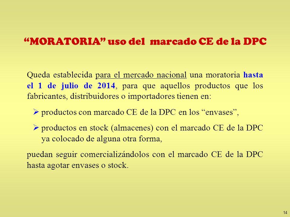 14 MORATORIA uso del marcado CE de la DPC Queda establecida para el mercado nacional una moratoria hasta el 1 de julio de 2014, para que aquellos prod
