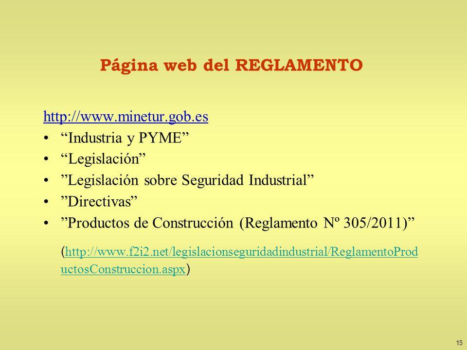 15 Página web del REGLAMENTO http://www.minetur.gob.es Industria y PYME Legislación Legislación sobre Seguridad Industrial Directivas Productos de Con