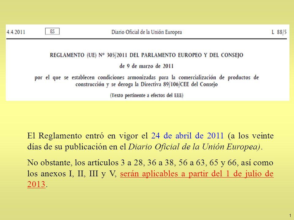 1 El Reglamento entró en vigor el 24 de abril de 2011 (a los veinte días de su publicación en el Diario Oficial de la Unión Europea). No obstante, los