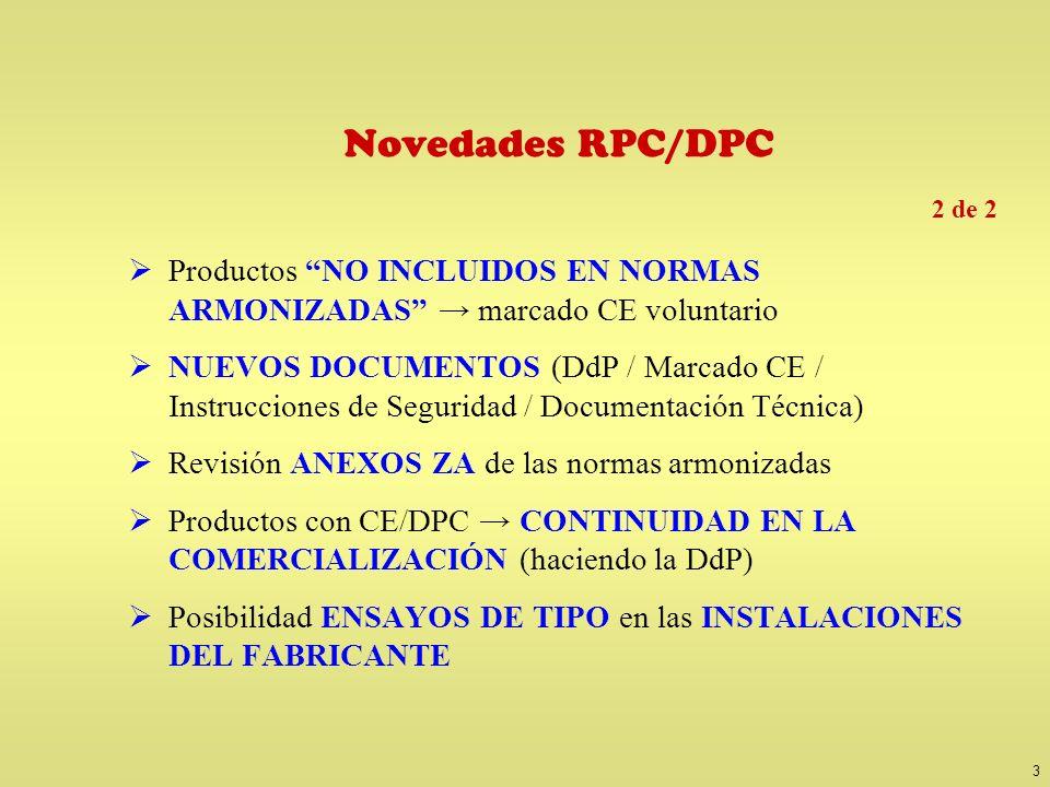 3 Novedades RPC/DPC Productos NO INCLUIDOS EN NORMAS ARMONIZADAS marcado CE voluntario NUEVOS DOCUMENTOS (DdP / Marcado CE / Instrucciones de Segurida