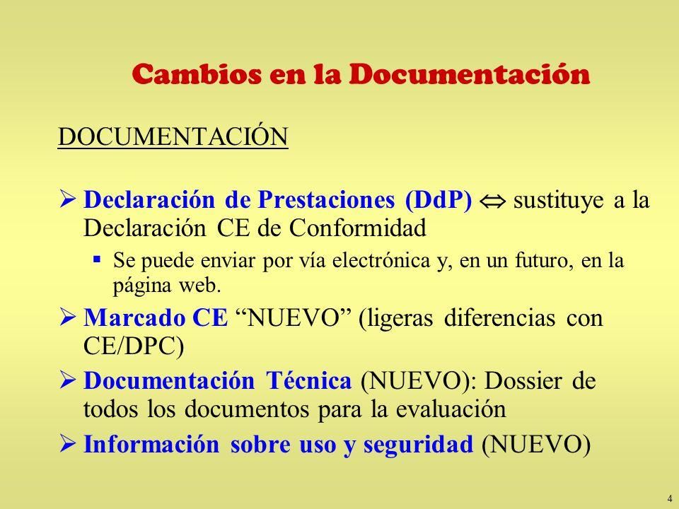 4 Cambios en la Documentación DOCUMENTACIÓN Declaración de Prestaciones (DdP) sustituye a la Declaración CE de Conformidad Se puede enviar por vía ele