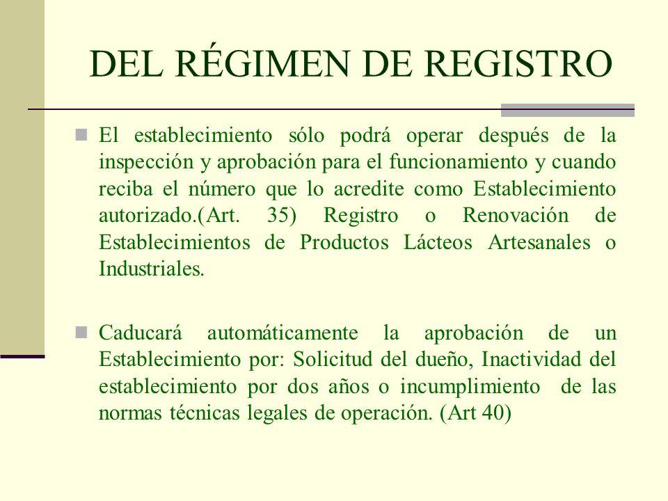 DEL RÉGIMEN DE REGISTRO El establecimiento sólo podrá operar después de la inspección y aprobación para el funcionamiento y cuando reciba el número qu