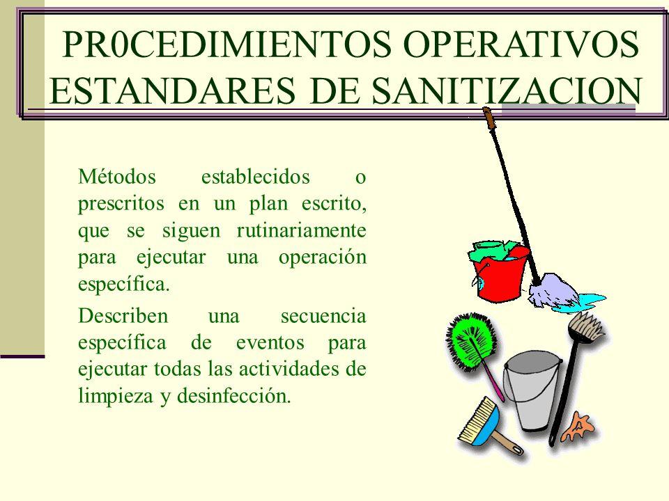 PR0CEDIMIENTOS OPERATIVOS ESTANDARES DE SANITIZACION Métodos establecidos o prescritos en un plan escrito, que se siguen rutinariamente para ejecutar