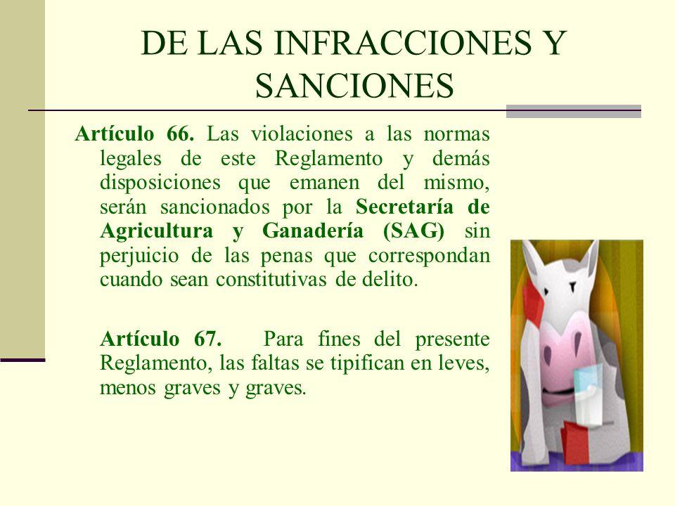 DE LAS INFRACCIONES Y SANCIONES Artículo 66. Las violaciones a las normas legales de este Reglamento y demás disposiciones que emanen del mismo, serán