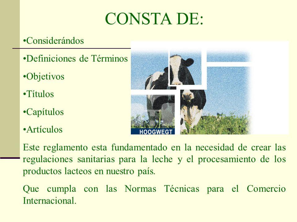 CONSTA DE: Considerándos Definiciones de Términos Objetivos Títulos Capítulos Artículos Este reglamento esta fundamentado en la necesidad de crear las