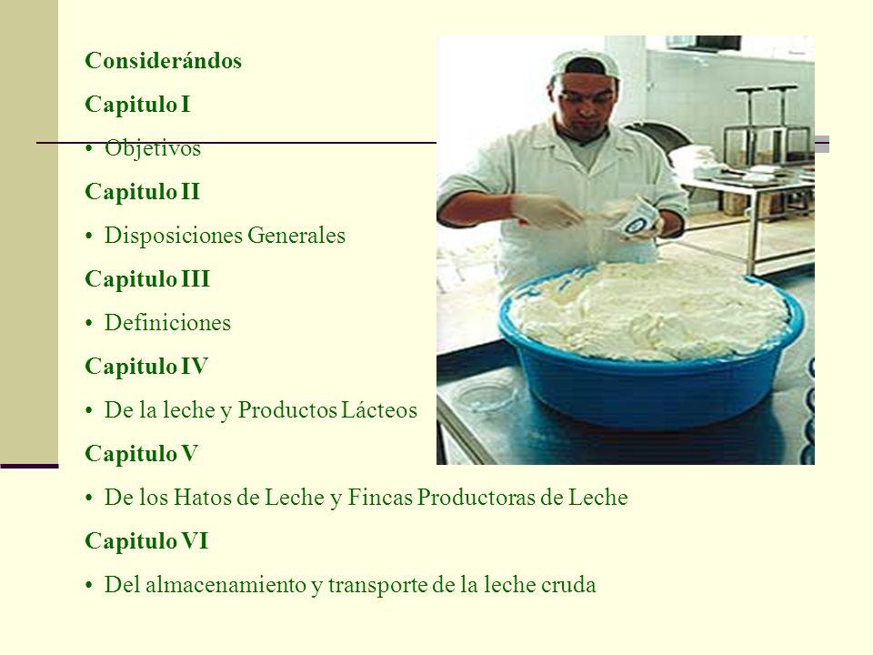 Considerándos Capitulo I Objetivos Capitulo II Disposiciones Generales Capitulo III Definiciones Capitulo IV De la leche y Productos Lácteos Capitulo