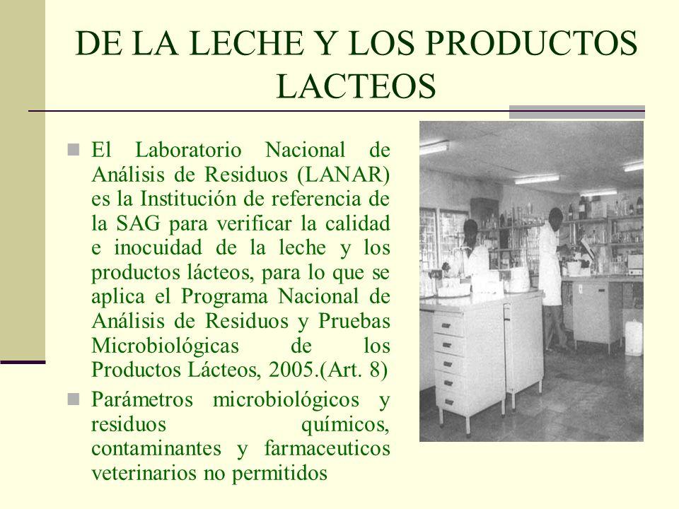 DE LA LECHE Y LOS PRODUCTOS LACTEOS El Laboratorio Nacional de Análisis de Residuos (LANAR) es la Institución de referencia de la SAG para verificar l