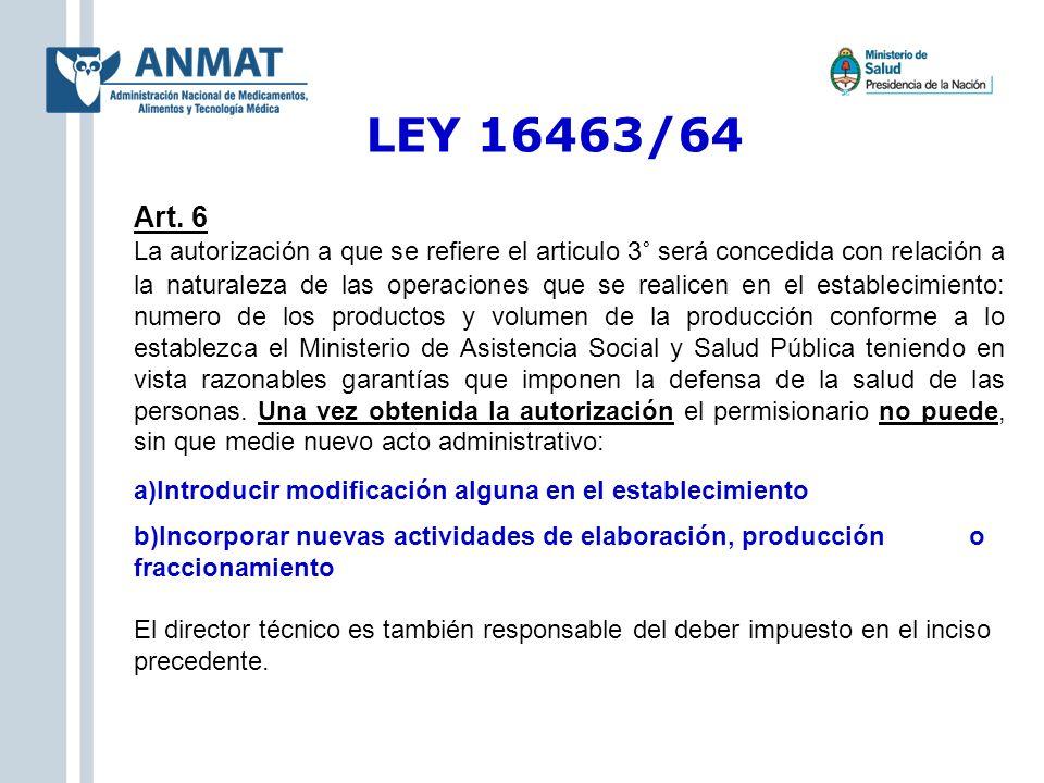 LEY 16463/64 Art. 6 La autorización a que se refiere el articulo 3° será concedida con relación a la naturaleza de las operaciones que se realicen en