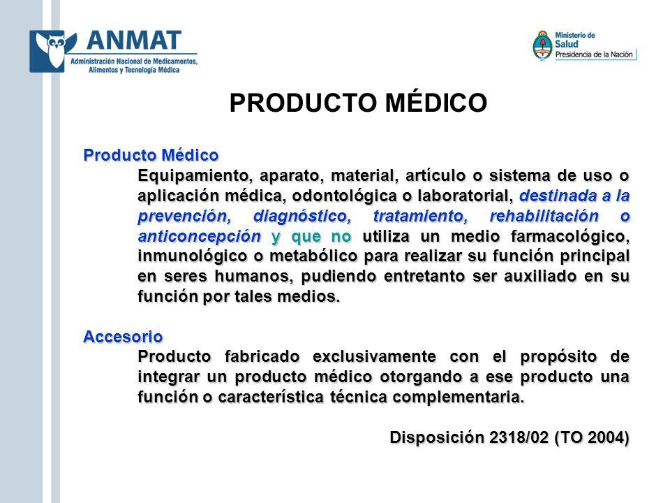 PRODUCTO MÉDICO Producto Médico Equipamiento, aparato, material, artículo o sistema de uso o aplicación médica, odontológica o laboratorial, destinada