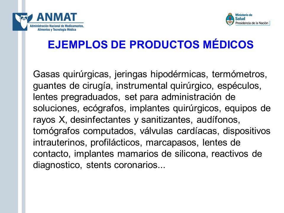 EJEMPLOS DE PRODUCTOS MÉDICOS Gasas quirúrgicas, jeringas hipodérmicas, termómetros, guantes de cirugía, instrumental quirúrgico, espéculos, lentes pr