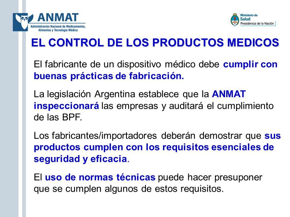 EL CONTROL DE LOS PRODUCTOS MEDICOS El fabricante de un dispositivo médico debe cumplir con buenas prácticas de fabricación. La legislación Argentina