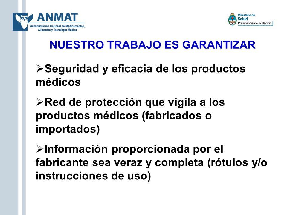 NUESTRO TRABAJO ES GARANTIZAR Seguridad y eficacia de los productos médicos Red de protección que vigila a los productos médicos (fabricados o importa
