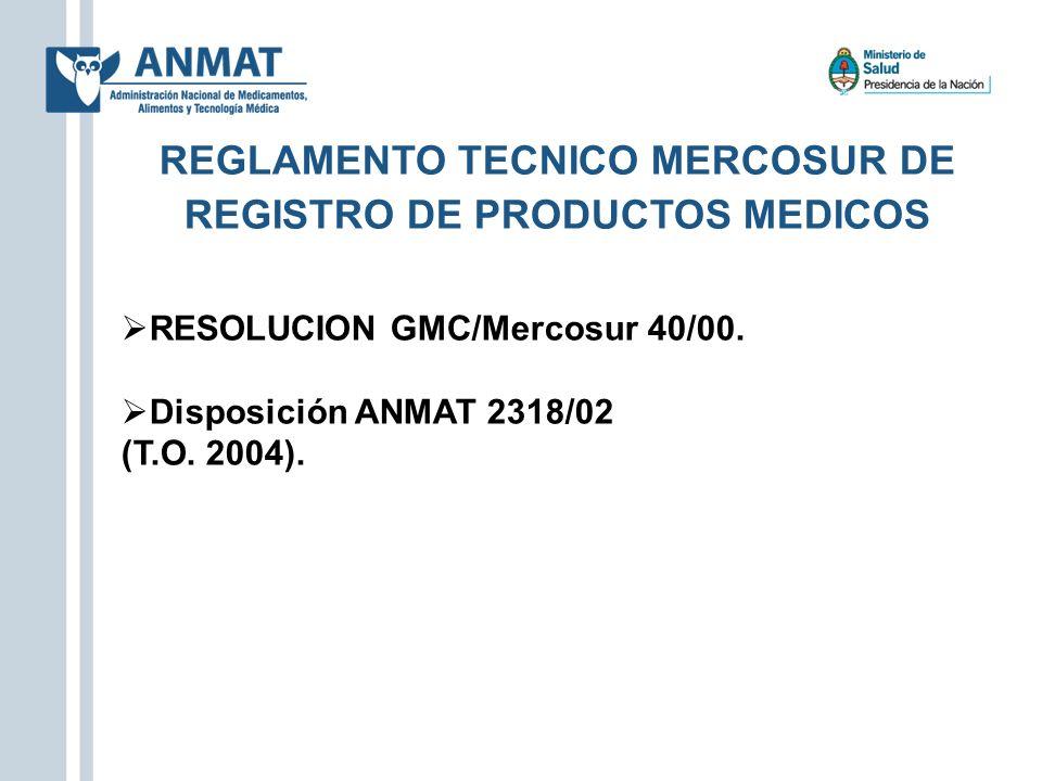 REGLAMENTO TECNICO MERCOSUR DE REGISTRO DE PRODUCTOS MEDICOS RESOLUCION GMC/Mercosur 40/00. Disposición ANMAT 2318/02 (T.O. 2004).