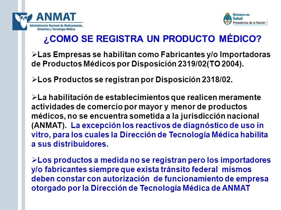 ¿COMO SE REGISTRA UN PRODUCTO MÉDICO? Las Empresas se habilitan como Fabricantes y/o Importadoras de Productos Médicos por Disposición 2319/02(TO 2004