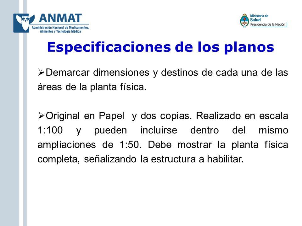 Especificaciones de los planos Demarcar dimensiones y destinos de cada una de las áreas de la planta física. Original en Papel y dos copias. Realizado