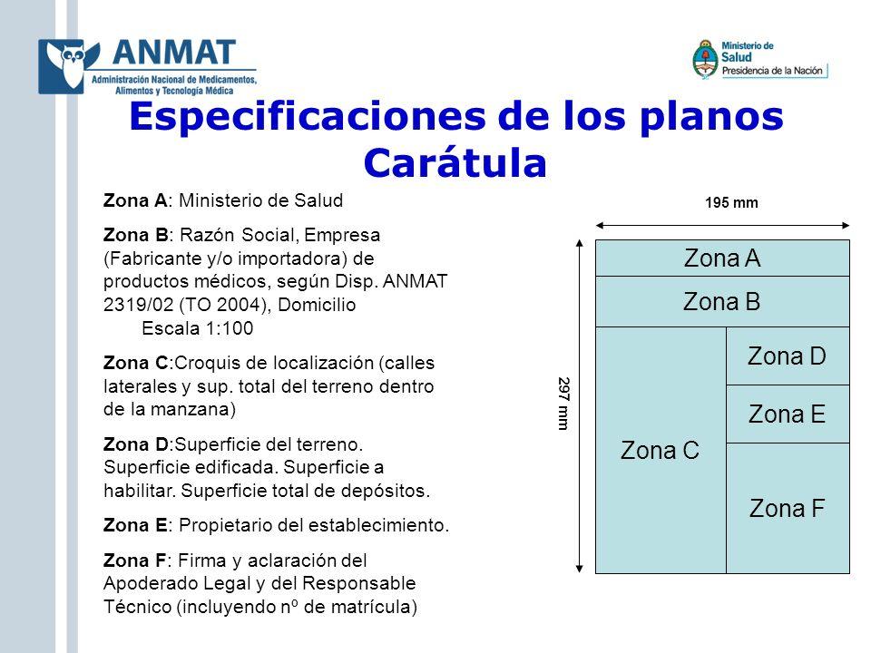 Especificaciones de los planos Carátula Zona A: Ministerio de Salud Zona B: Razón Social, Empresa (Fabricante y/o importadora) de productos médicos, s