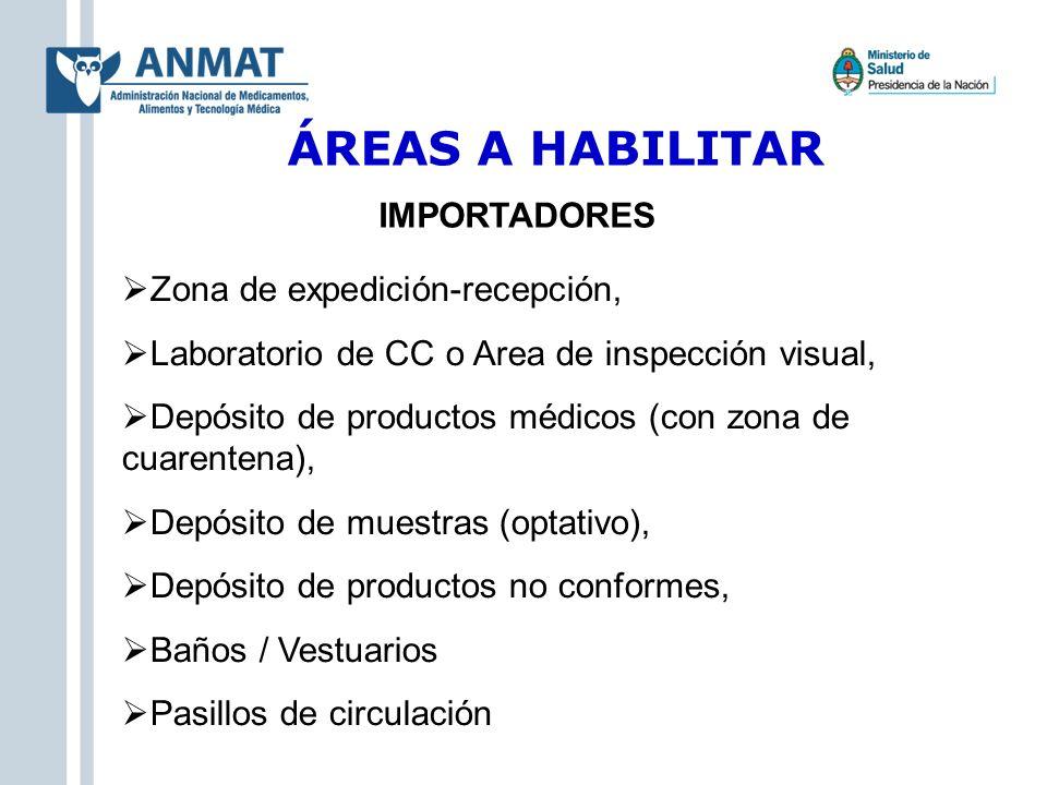 ÁREAS A HABILITAR Zona de expedición-recepción, Laboratorio de CC o Area de inspección visual, Depósito de productos médicos (con zona de cuarentena),
