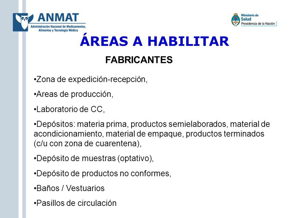 ÁREAS A HABILITAR Zona de expedición-recepción, Areas de producción, Laboratorio de CC, Depósitos: materia prima, productos semielaborados, material d