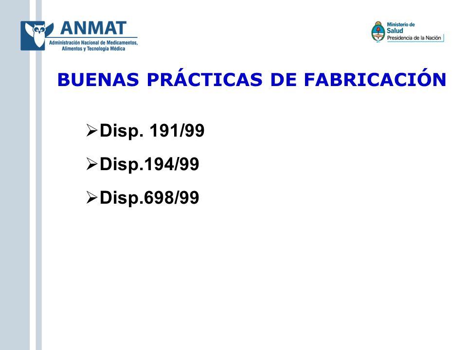 Disp. 191/99 Disp.194/99 Disp.698/99 BUENAS PRÁCTICAS DE FABRICACIÓN