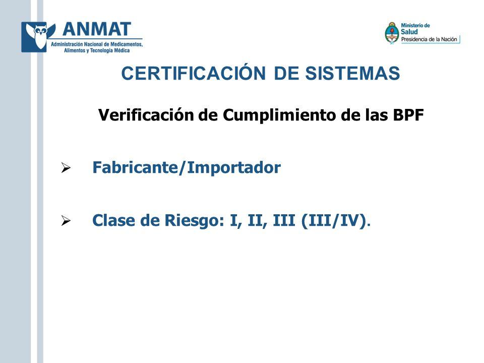 Verificación de Cumplimiento de las BPF Fabricante/Importador Clase de Riesgo: I, II, III (III/IV). CERTIFICACIÓN DE SISTEMAS