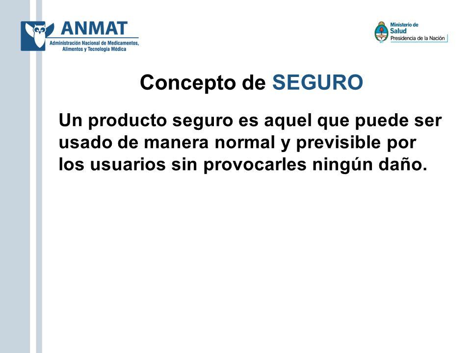 Concepto de SEGURO Un producto seguro es aquel que puede ser usado de manera normal y previsible por los usuarios sin provocarles ningún daño.