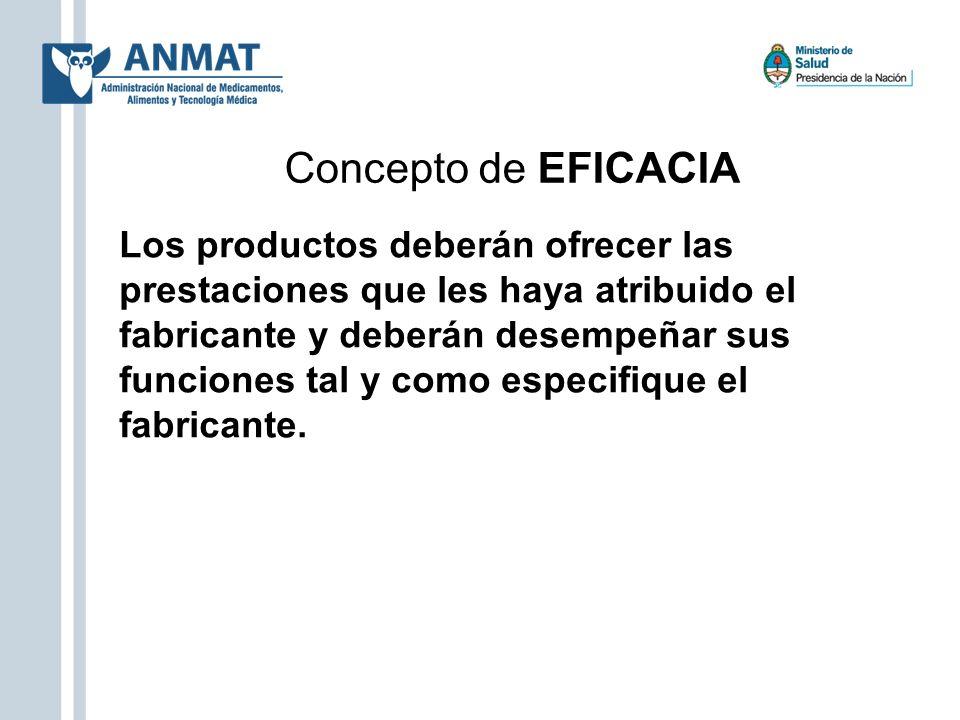 Concepto de EFICACIA Los productos deberán ofrecer las prestaciones que les haya atribuido el fabricante y deberán desempeñar sus funciones tal y como