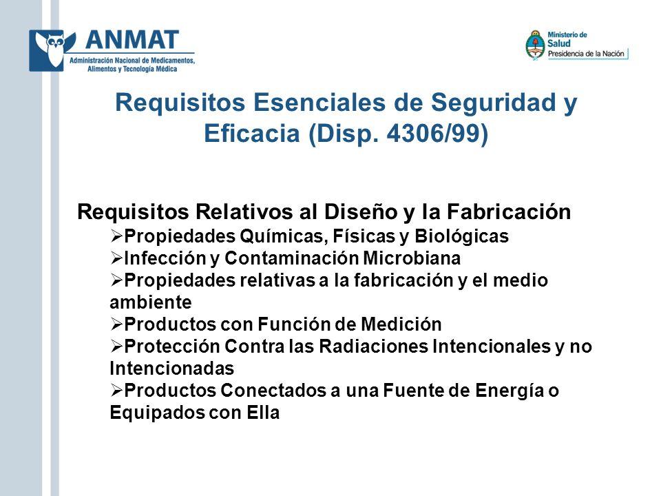Requisitos Relativos al Diseño y la Fabricación Propiedades Químicas, Físicas y Biológicas Infección y Contaminación Microbiana Propiedades relativas