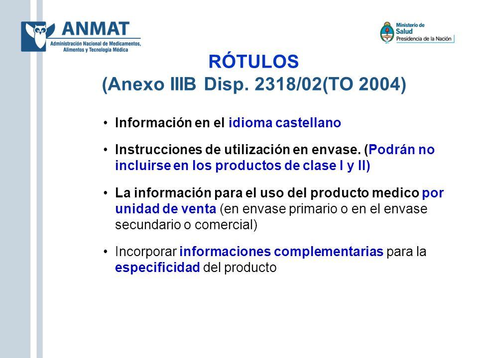 RÓTULOS (Anexo IIIB Disp. 2318/02(TO 2004) Información en el idioma castellano Instrucciones de utilización en envase. (Podrán no incluirse en los pro