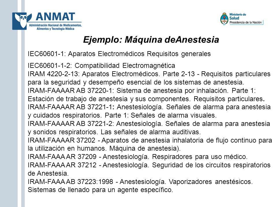 Ejemplo: Máquina deAnestesia IEC60601-1: Aparatos Electromédicos Requisitos generales IEC60601-1-2: Compatibilidad Electromagnética IRAM 4220-2-13: Ap