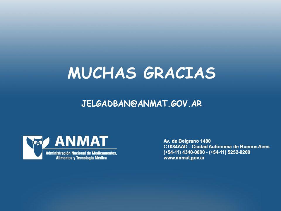Av. de Belgrano 1480 C1084AAD - Ciudad Autónoma de Buenos Aires (+54-11) 4340-0800 - (+54-11) 5252-8200 www.anmat.gov.ar MUCHAS GRACIAS JELGADBAN@ANMA