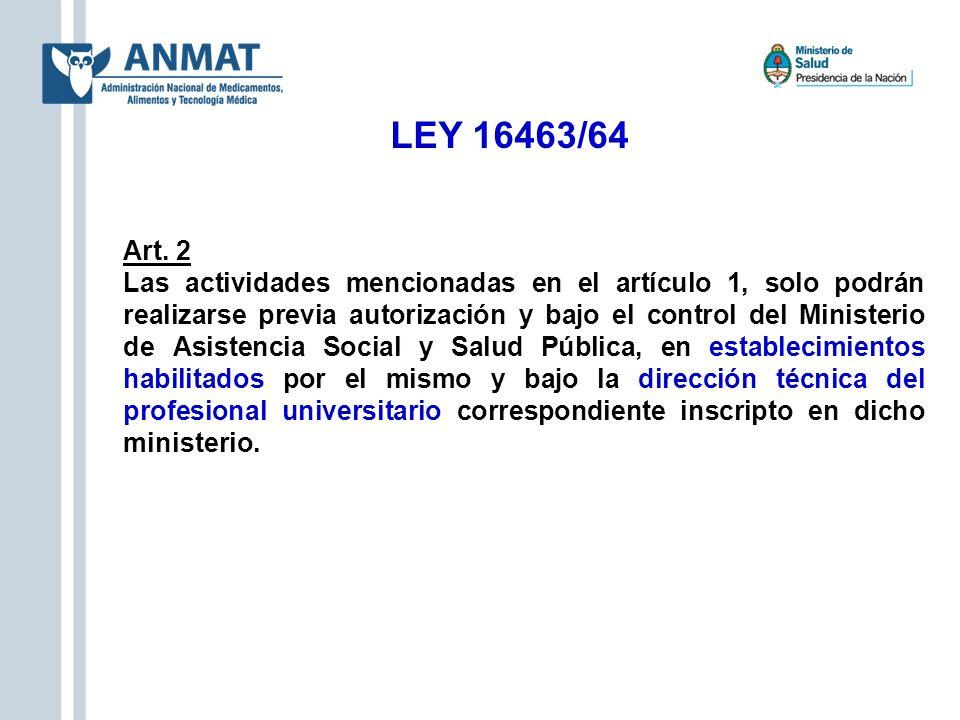 LEY 16463/64 Art. 2 Las actividades mencionadas en el artículo 1, solo podrán realizarse previa autorización y bajo el control del Ministerio de Asist