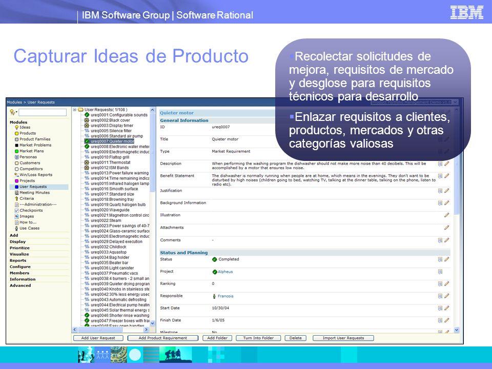 IBM Software Group | Software Rational Capturar Ideas de Producto Recolectar solicitudes de mejora, requisitos de mercado y desglose para requisitos t
