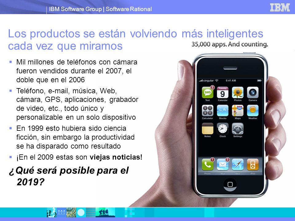 IBM Software Group | Software Rational Los productos se están volviendo más inteligentes cada vez que miramos Mil millones de teléfonos con cámara fue