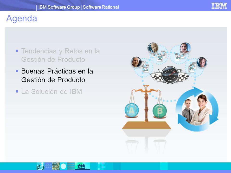 IBM Software Group   Software Rational Desarrollo del Roadmap Balancear y secuenciar los releases de producto para maximizar el valor y alcanzar metas estratégicas Ver etapas, puertas, eventos importantes, requisitos asociados con cada producto en la interconexión