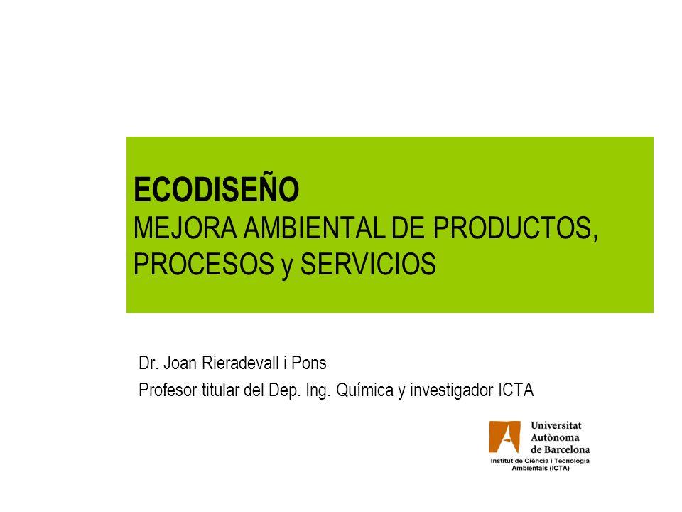 1.Producto a ecodiseñar 2.Diagnosis preliminar 3.Ecobriefing (requerimientos ambientales) 4.Estrategias de ecodiseño 5.Ecodiseño 6.Valoración de las mejoras 7.Documento final 8.Presentación Metodología ecodiseño.