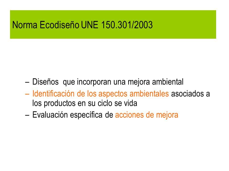 Norma Ecodiseño UNE 150.301/2003 –Diseños que incorporan una mejora ambiental –Identificación de los aspectos ambientales asociados a los productos en