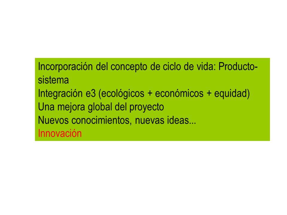 Incorporación del concepto de ciclo de vida: Producto- sistema Integración e3 (ecológicos + económicos + equidad) Una mejora global del proyecto Nuevo